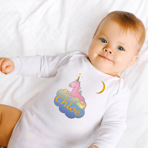 personalised baby grow with unicorns
