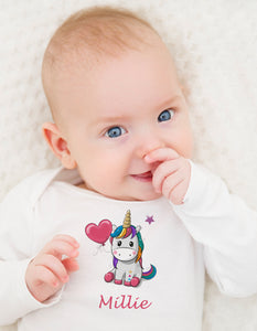 Personalised Baby Bodysuit - Colourful Unicorn - miniplum