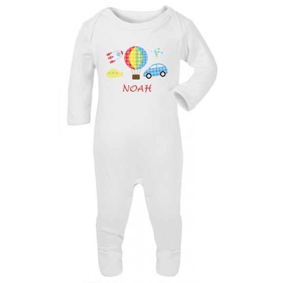 Personalised Baby Sleepsuit- Vehicles - miniplum