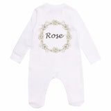 personalised floral baby sleepsuit