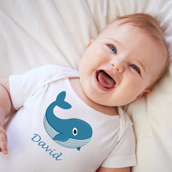 personalised baby grow with blue whale