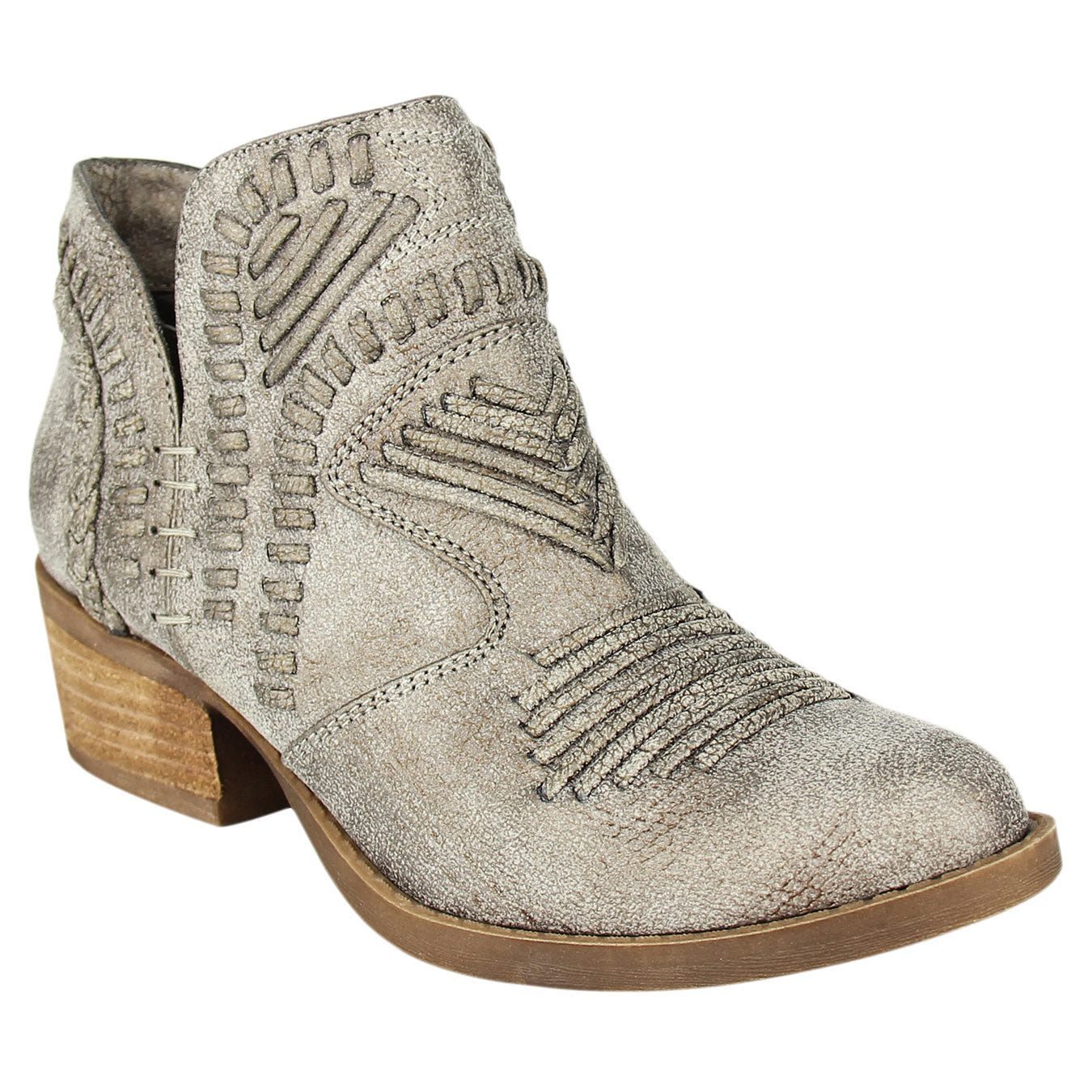 Not_Rated_bootie_grey_stacked_heel_women's_woven_upper_Nosara_best_seller