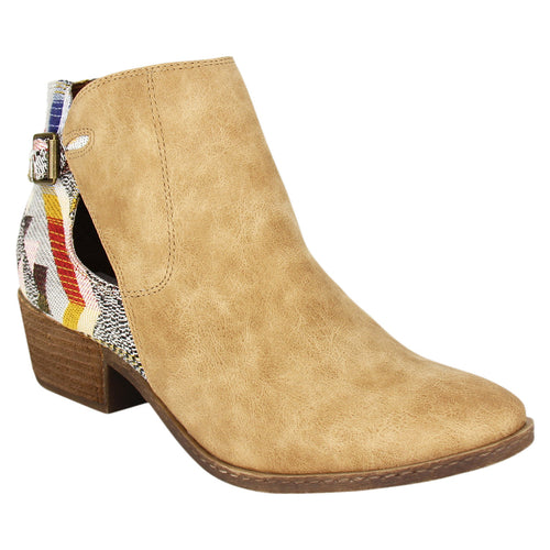 Not_Rated_bootie_stacked_heel_sand_women's_Pricilla