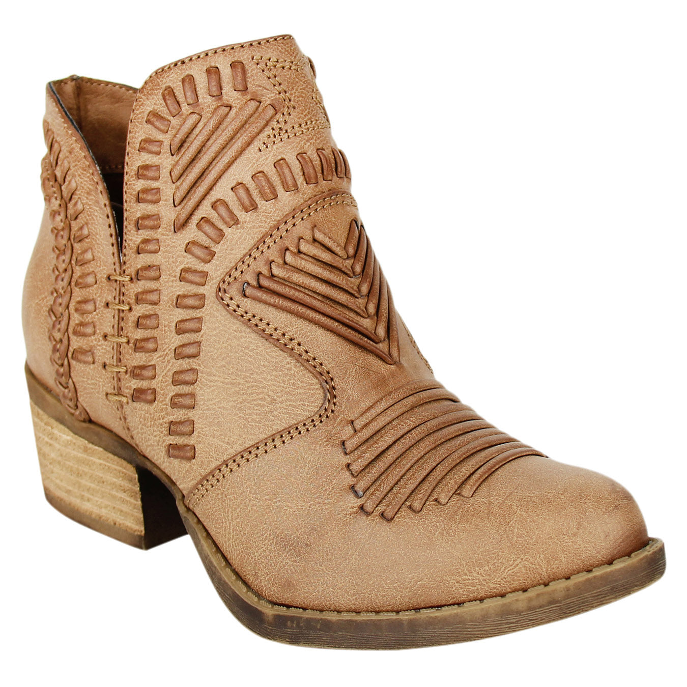 Not_Rated_booties_tan_stacked-heel_woven_upper_women's_best_seller