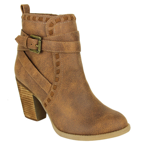 "Not_Rated_bootie_stacked-heel_3 1/4""_cross_straps_zipper_women's"