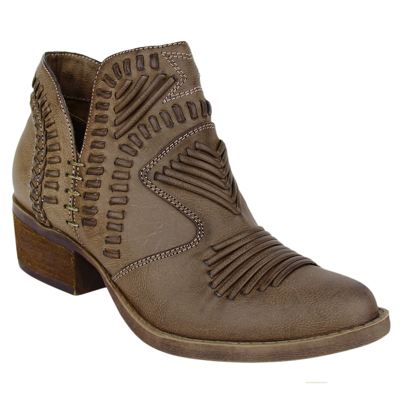Not_Rated_booties_taupe_stacked-heel_woven_upper_women's_best_seller