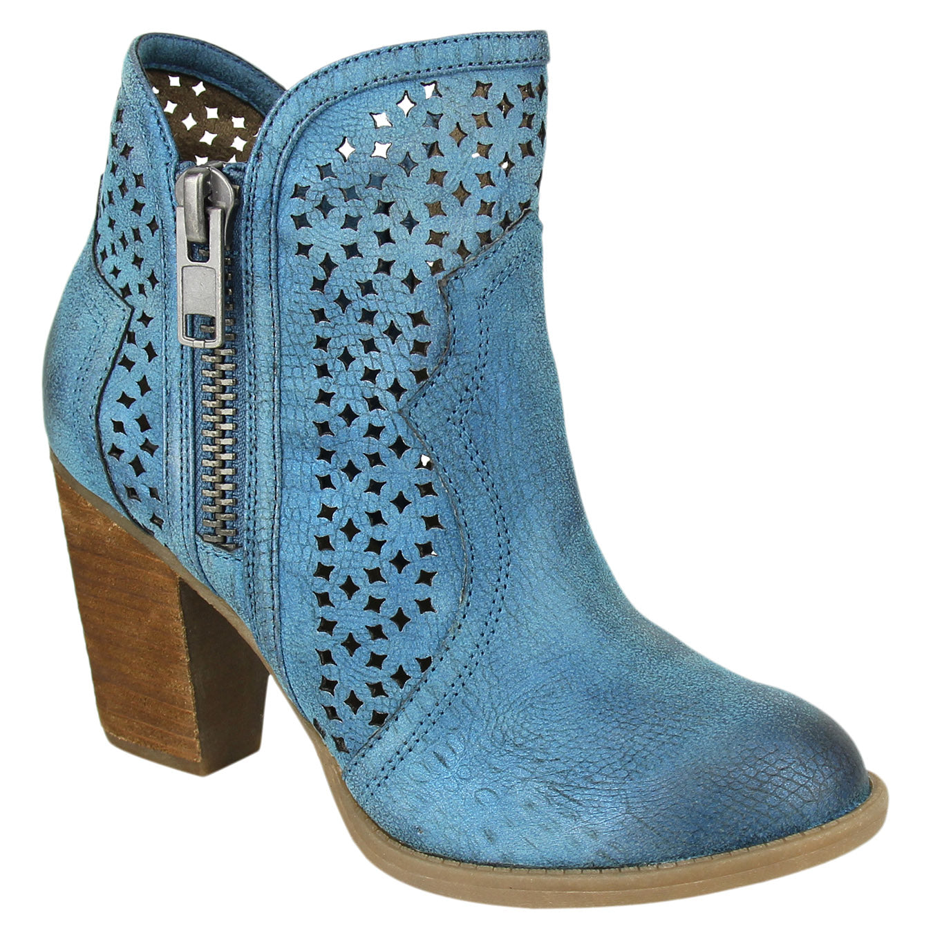 Not_Rated_bootie_teal_women's_heel_lazer_cut_out