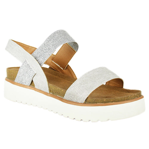 Not_Rated_Asuma_ women's_sandal_platform_2-inch_heel_decorative 1 ¼ inch_elastic-ankle_strap_cushioned_insole_glimmer_silver