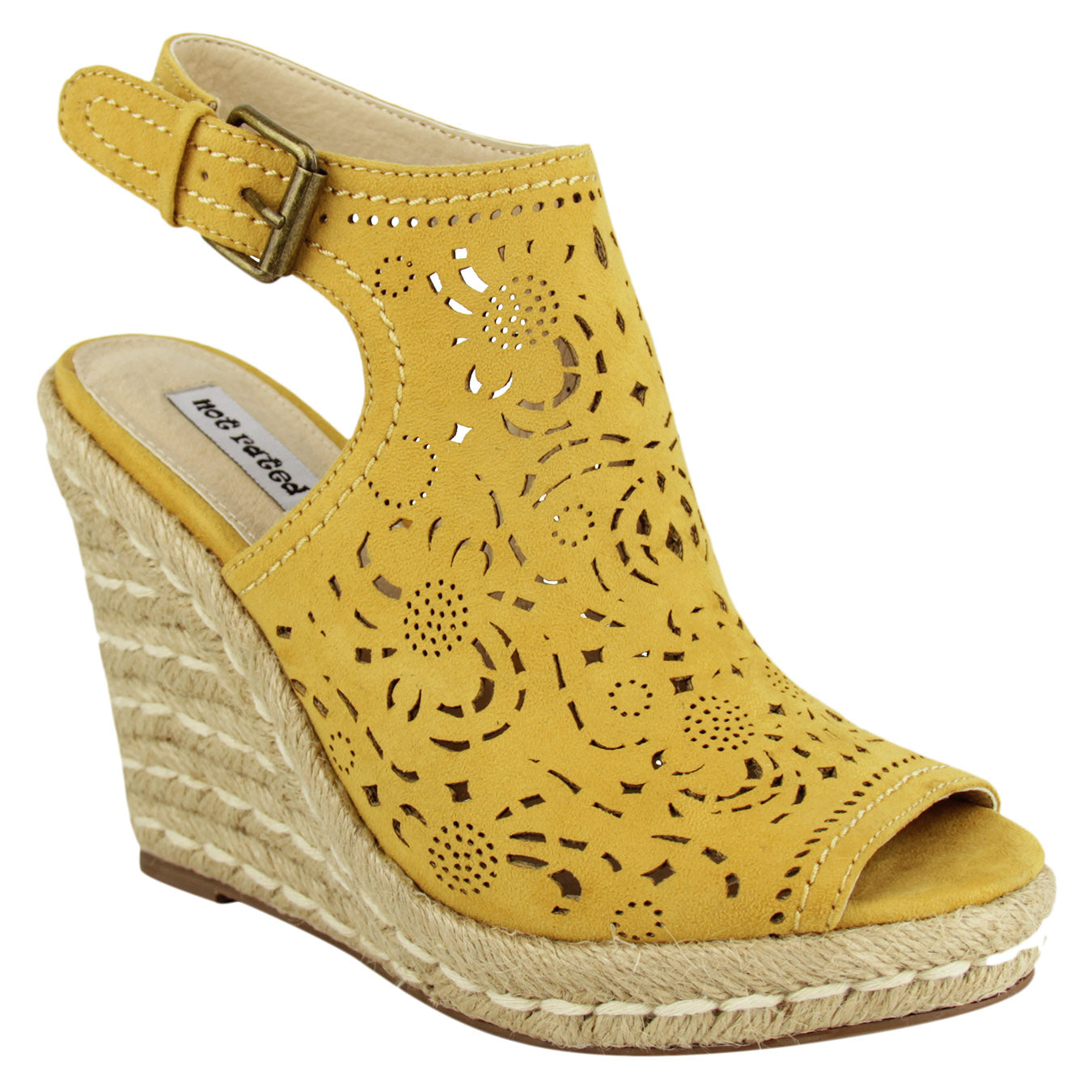 not_rated_wedge_women's_sling_back_lazer_cutouts_yellow