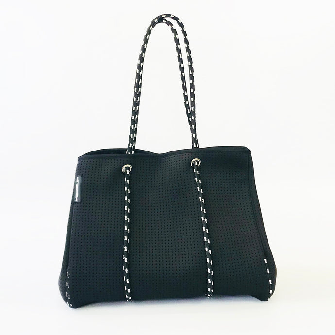 Neoprene Black Tote Bag with black & white straps
