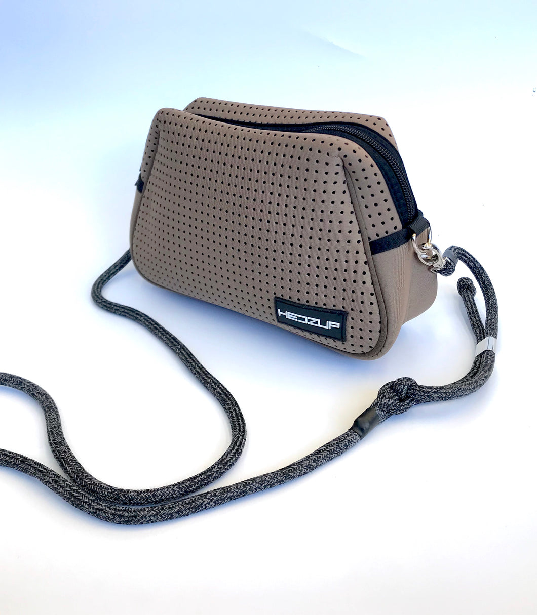 Neoprene Khaki Brown Shoulder Bag