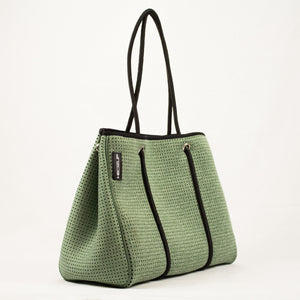 Neoprene Green Denim Tote Bag