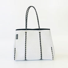 Neoprene Classic White Tote Bag with Black & White Straps