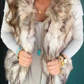 Tan And White Faux Fur Vest