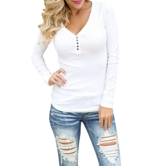 Long Sleeve V Neck Top Plus Size