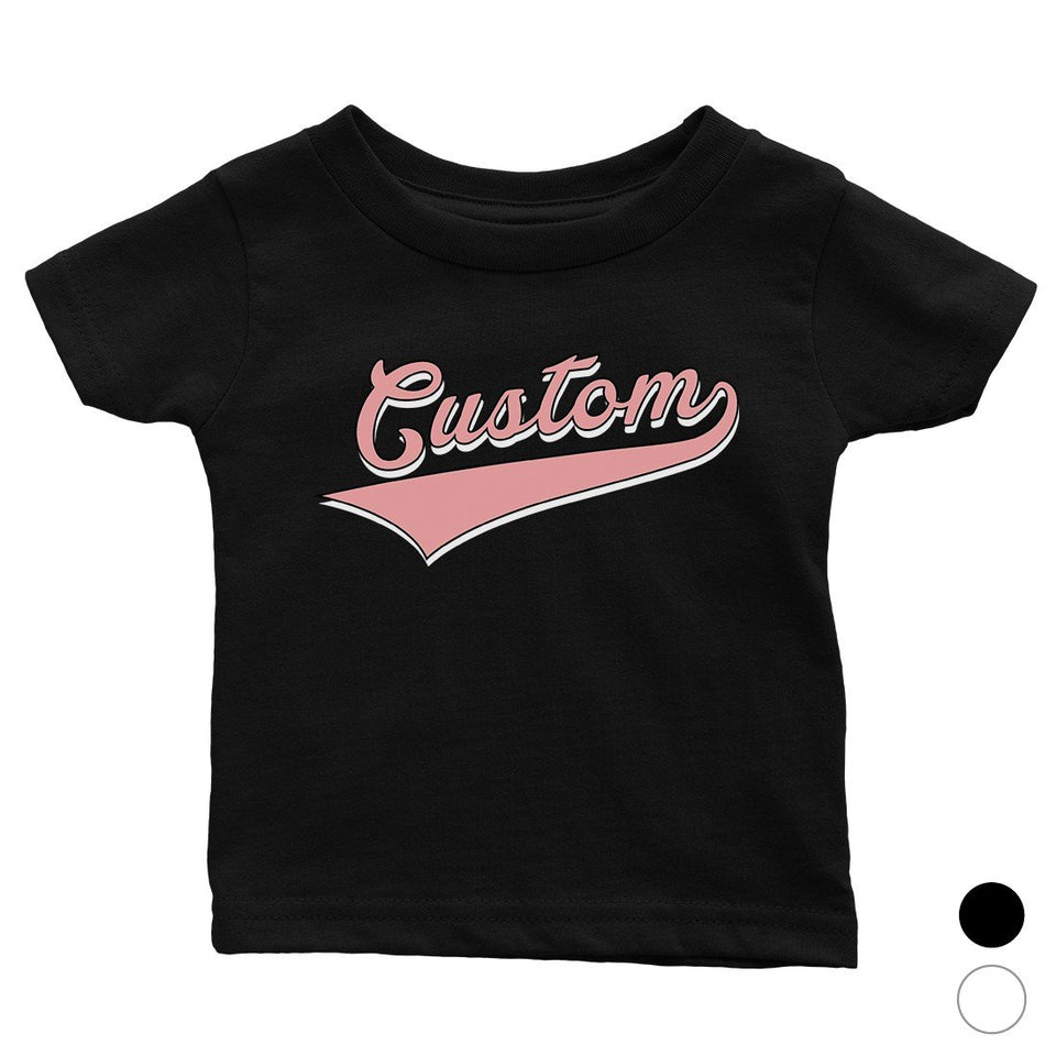 Pink College Swoosh Cute Calm Rad Baby Personalized T-Shirt Gift