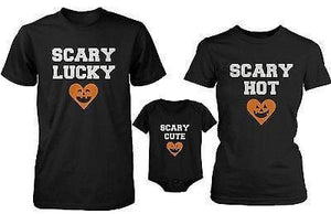Funny Family Matching Shirts Daddy Mommy Baby Scary Halloween Shirt and Bodysuit