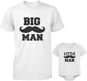 Dad and Baby Matching White T-Shirt and Bodysuit Set - Big Man and Little Man