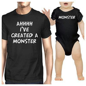Daddy and Baby Matching Black T-Shirt - Bodysuit Combo - I've Created A Monster