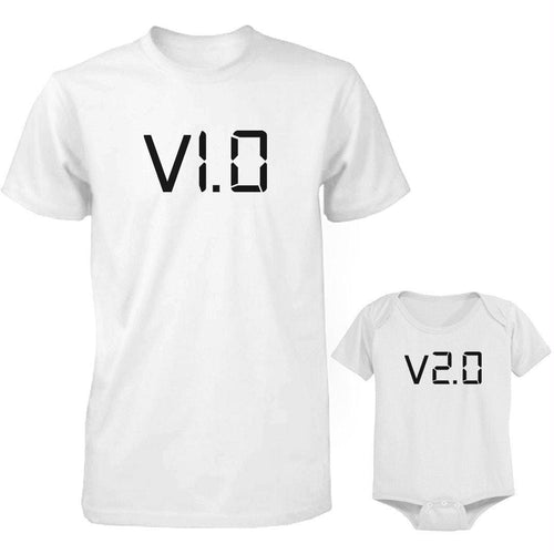 Daddy and Baby Matching White T-Shirt - Bodysuit Combo - v.1.0 and v.2.0