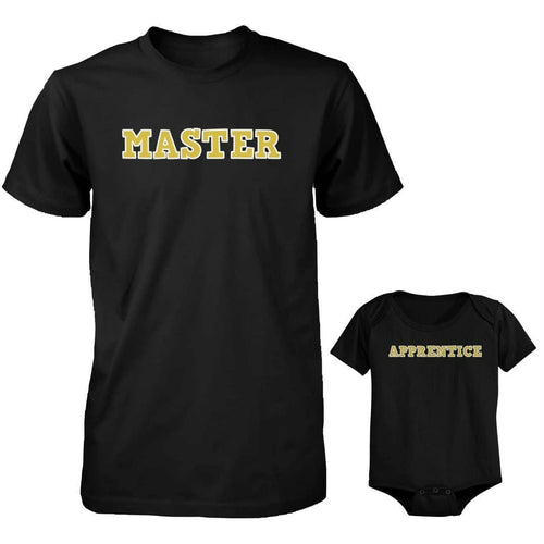 Daddy and Baby Matching Black T-Shirt - Bodysuit Combo - Master and Apprentice