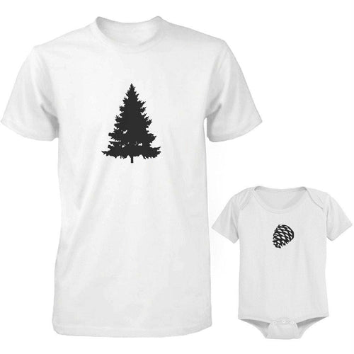 Daddy and Baby Matching White T-Shirt - Bodysuit Combo - Pine Tree and Pinecone