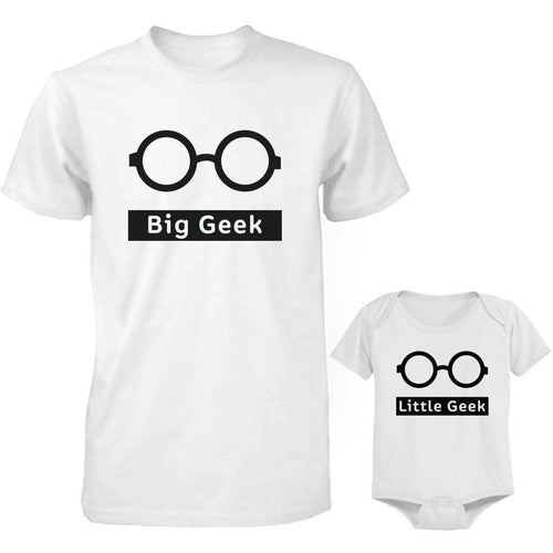 Funny Big Geek Little Geek Matching Dad Shirt and Baby Onesie