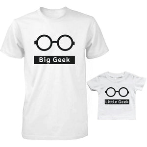 Funny Big Geek Little Geek Matching Dad Shirt and Baby Shirt