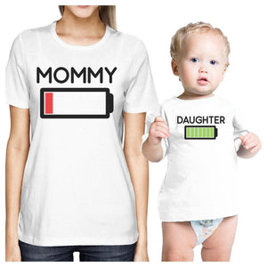Mommy & Daughter Battery White Mom and Baby Matching Outfits Gifts