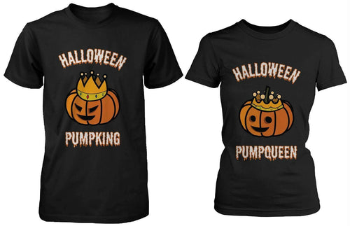 Halloween PumpKing and PumpQueen Couple Tees Perfect for Horror Night