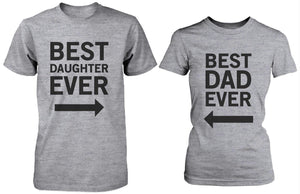 Matching Grey T-Shirts Set For Dad and Daughter - Best Dad - Beast Daughter
