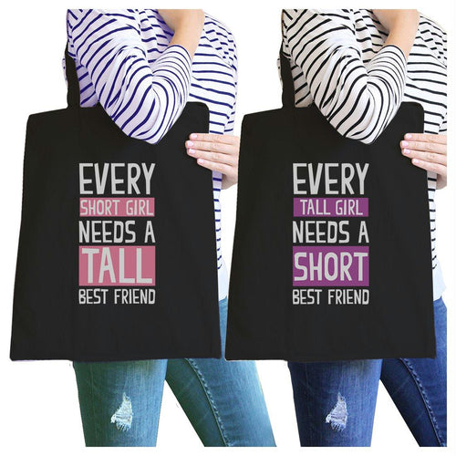 Tall Short Friend BFF Matching Canvas Bags For Teen Girls Gifts