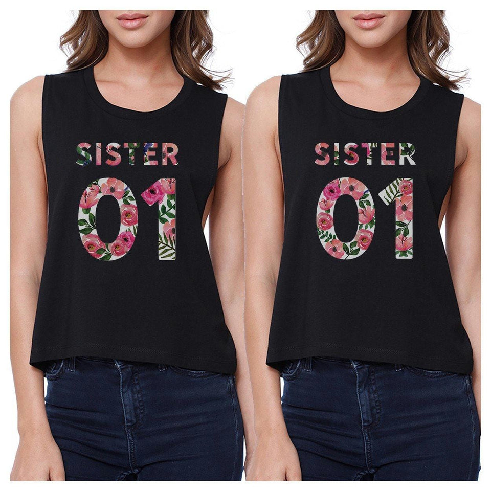 Sister 01 BFF Matching Black Crop Tops