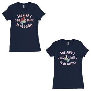 Mermaid To Be Besties BFF Gift Matching Shirts Womens Navy T-Shirt