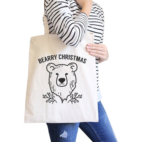 Bearry Christmas Bear Natural Canvas Bags