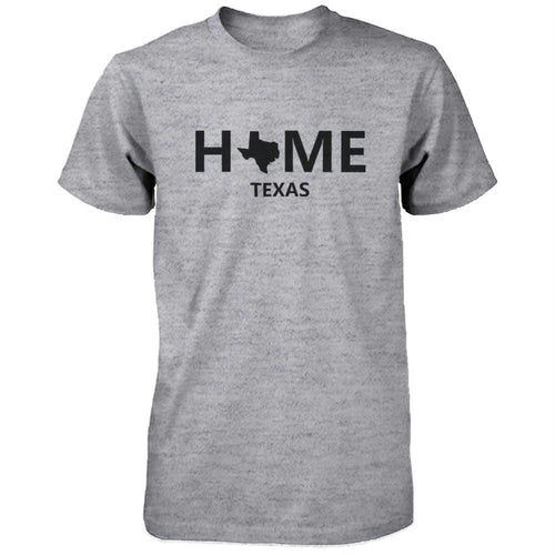 Home TX State Grey Men's T-Shirt US Texas Hometown Cotton Shirt