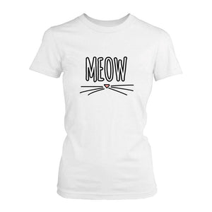 Meow Women's Shirts Cute Ladies' Short Sleeve Tee Back To School