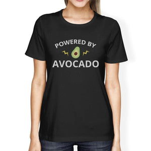 Powered By Avocado Women's Black Round Neck Cotton Graphic T Shirt