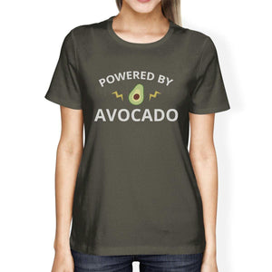 Powered By Avocado Women's Dark Grey Cute Graphic T Shirt For Her