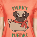 Merry Pugmas Pug Womens Peach Shirt