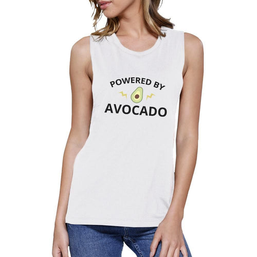 Powered By Avocado White Muscle Tee Gift For For Avocado Lovers