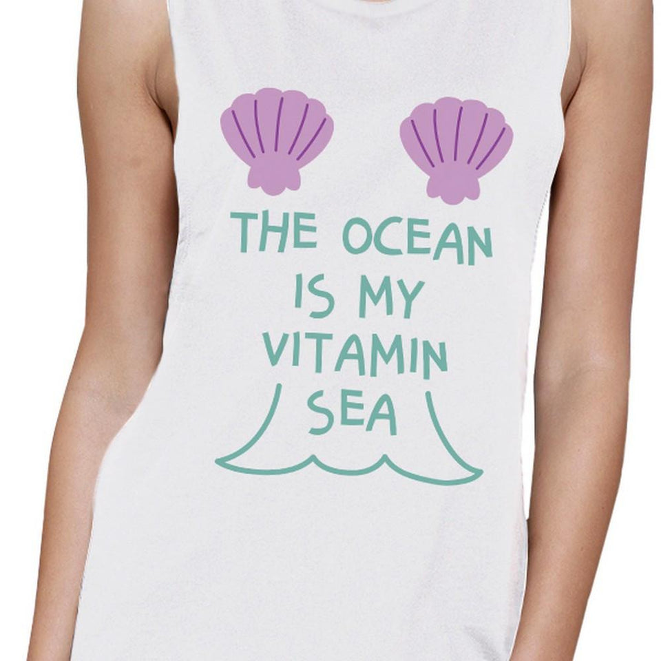 The Ocean Is My Vitamin Sea Womens Crewneck Muscle Tank Top Cotton