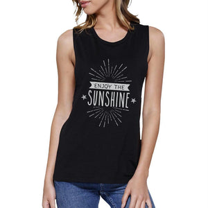 Enjoy The Sunshine Womens Black Muscle Top
