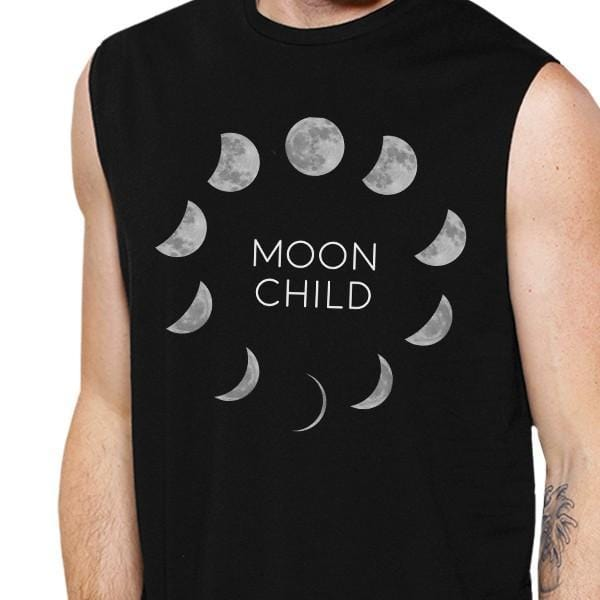 Moon Child Mens Black Muscle Top