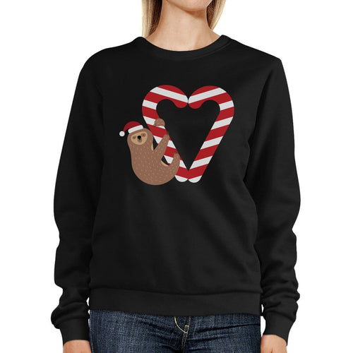 Candy Cane And Sloth Sweatshirt Winter Pullover Fleece Sweater