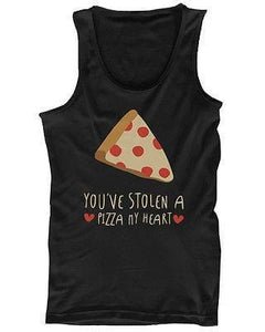 Men's Graphic Tanks - Stolen a Pizza My Heart Black Cotton Sleeveless Tank Top