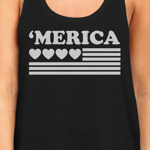 'Merica Women Black Cotton Tank Top Unique American Flag With Heart