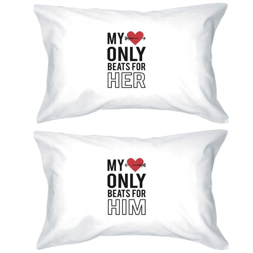 My Heart Beats For Her Him Funny Pillow Cases Funny Newlywed Gift