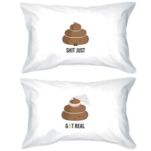 Poop Shit Got Real Funny Matching Pillow Covers Funny Wedding Gift
