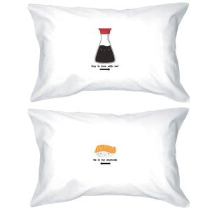 Sushi & Soy Sauce Matching Pillow Covers Funny Anniversary Gifts